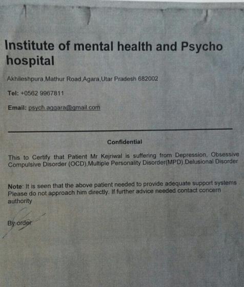Website claims Kejriwal mental patient