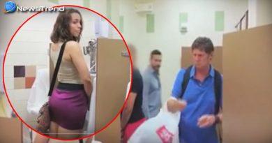 पुरुषों के शौचालय में एक महिला घुस गयी