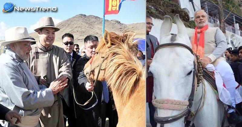 pm modi horse riding