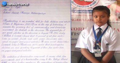beautiful writing of nepali school student