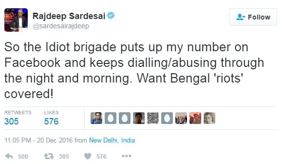 Rajdeep sardesai tweet on Bengal riots