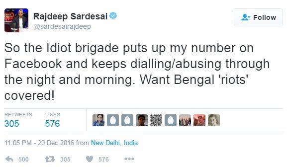 Rajdeep sardesai tweet on Bengal riots