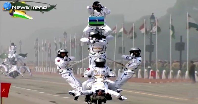 Indian army show stunt on bike