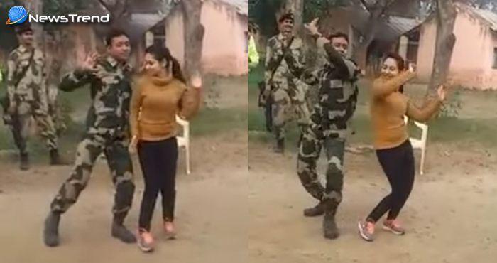 सैनिक का डांस : चिकनी चमेली गाने पर सैनिक ने लड़की के साथ किया डांस.