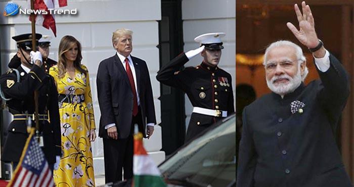 राष्ट्रपति डोनाल्ड ट्रम्प और उनकी पत्नी मेलेनिया ने पीएम मोदी का किया इस तरह स्वागत, देखें तस्वीरें!