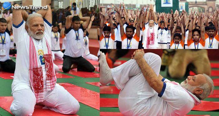 international yoga day, पीएम मोदी ने लखनऊ में किया योगासन.
