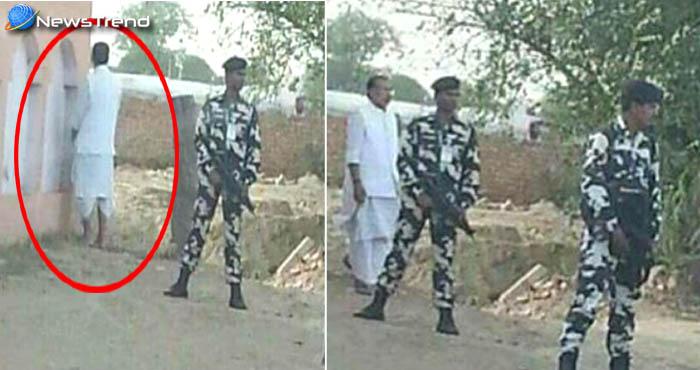 सड़क किनारे सुरक्षा घेरे में मंत्री जी ने किया कुछ ऐसा, अब लोग ले रहे हैं मजा! देखें-