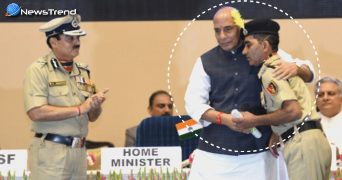 प्रोटोकॉल तोड़कर बीएसएफ जवान को गृहमंत्री राजनाथ सिंह ने लगाया गले, तालियों से गूँज उठा हॉल!