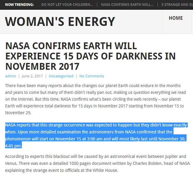 Earth going to darkness in November