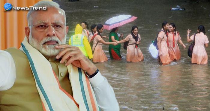 मुंबई बारिश: बिगड़े हालात पर PM मोदी ने की CM फणनवीस से बात, लोगों से की घर के अंदर रहने की अपील