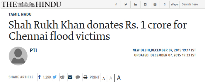 Shahrukh donate 45 crore for Pakistan