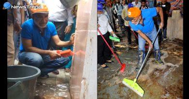 ...जब मोदी सरकार के मिनिस्टर ने हाथ में पकड़ी झाडू, साफ की पान-गुटखे से रंगी दीवारें – देखें वीडियो