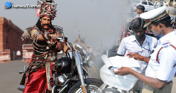 मुकुट पहनकर बाइक पर घूम रहे रावण का दिल्ली पुलिस ने काटा चालान