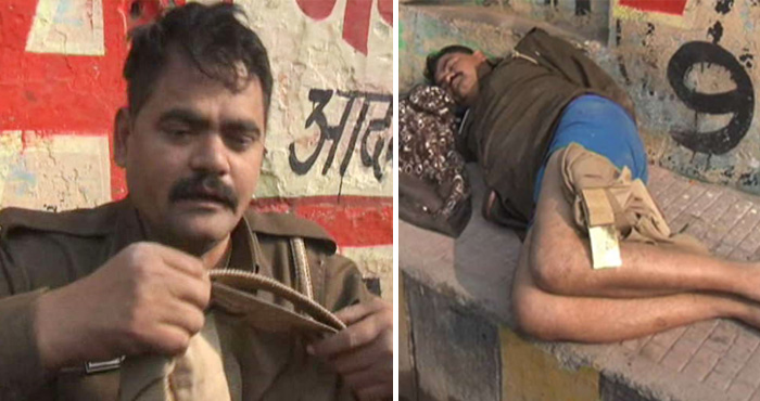 यूपी पुलिस की एक और शर्मनाक हरकत सामने, नशे में धुत्त सिपाही बिना पैंट के ही सो गया बीच बाजार