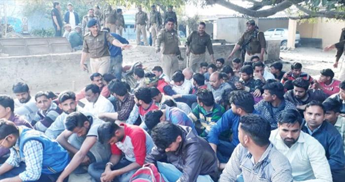 इंटरमीडिएट यूपी बोर्ड परीक्षा, बीजेपी नेता के घर चल रहा था गैर कानूनी काम, 3 युवतियों समेत 63 लोग पकड़े गए