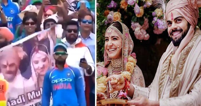 मैच के बीच में फैन्स ने अनोखे अंदाज में दी विराट-अनुष्का को शादी की बधाई, वायरल हो रहा विडियो