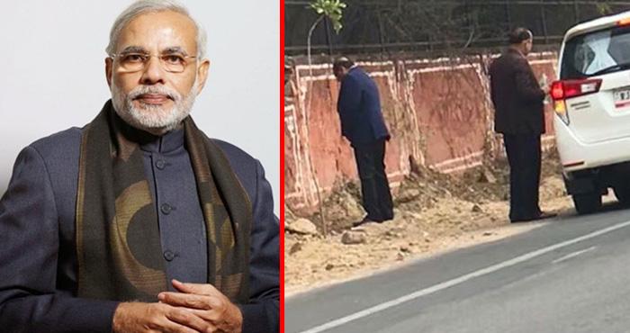 पीएम मोदी के सपनों के भारत पर पानी फेरता दिखा यह मंत्री, सड़क किनारे ही कर दिया यह गंदा काम
