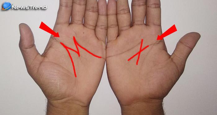 हथेलियों पर X और M का निशान