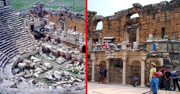हीरापोलिस अन्सिएंट थिएटर, ग्रीक में प्राचीन मंदिर हीरापोलिस अन्सिएंट थिएटर