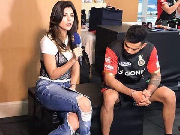 IPL की खूबसूरत होस्ट की टांगे घूरते दिखे थे विराट कोहली, अब सामने आई इस तस्वीर की सच्चाई