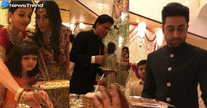ईशा की शादी में ऐश औऱ शाहरुख ने परोसी मिठाई तो पकौड़े की प्लेट पकड़े नजर आए अभिषेक