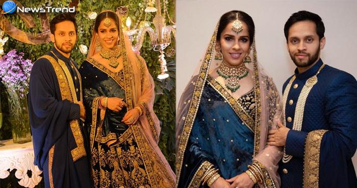 साइना नेहवाल ने सिंपल शादी के बाद दिया रॉयल रिसेप्शन, सब्यसाची के लहंगे में दीपिका को भी दे दी मात