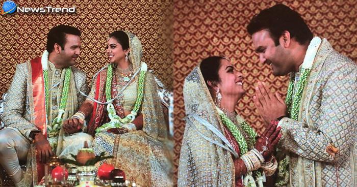 Isha Ambani Wedding: सफेद और गोल्डन रंग के जोड़े में राजकुमारी लगीं ईशा, देखें शादी की तस्वीरे