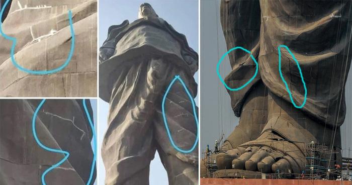सरदार पटेल की मूर्ति 2 हफ़्तों में ही टूटने लगी है? जानिए इस वायरल तस्वीर का सच