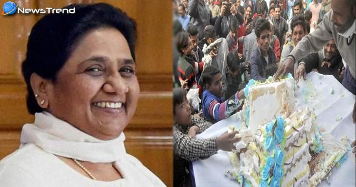 मायावती के जन्मदिन पर केक के लिए पागल हुई भीड़, नोच नोच के खाया केक, वीडियो वायरल