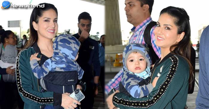 एयरपोर्ट पर सनी लियॉन नज़र आयी अपने बेहद क्यूट बच्चों के साथ,  देखें तस्वीरें