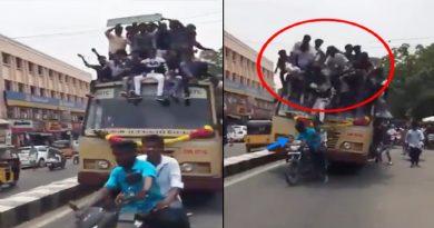 चलती बस की छत पर सेलिब्रेट कर रहे थे 30 स्टूडेंट्स, अचानक ब्रेक लगा तो लग गई वाट, देखे Video