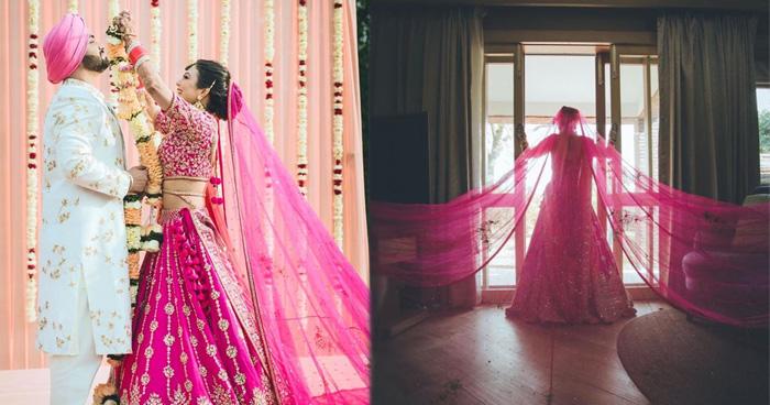 Photo of इस दुल्हन ने पहना 'रानी पिंक लहंगा', दुपट्टा इतना बड़ा कि देखते रह गए लोग, तस्वीरें वायरल