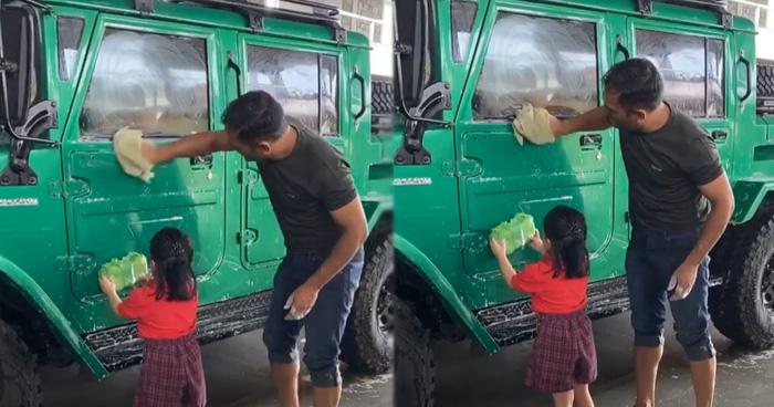 Photo of दिवाली पर गाड़ी चमकाने में पापा धोनी की मदद करती नज़र आई जीवा, देखे क्यूटनेस से भरा Video