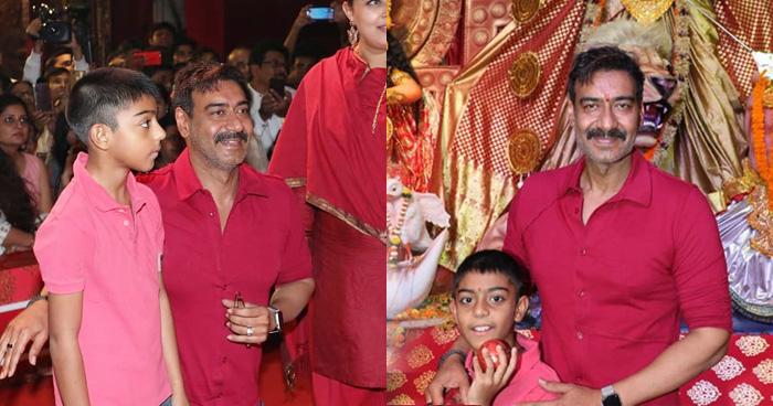 बेटे युग के साथ दुर्गा पूजा देखने पहुंचे अजय देवगन, सोशल मीडिया पर वायरल हुई शानदार तस्वीरें