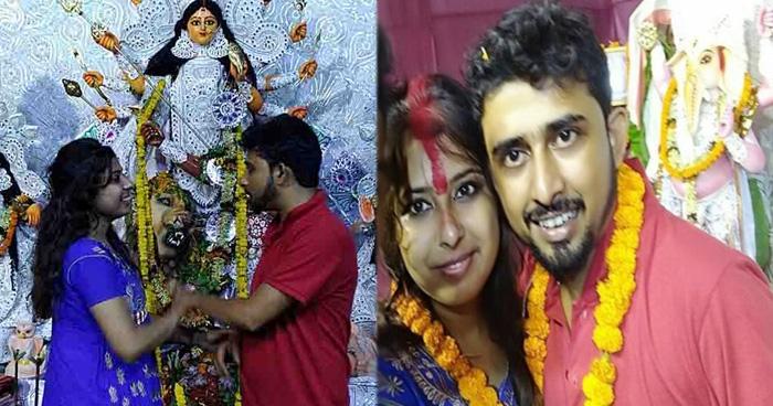 Photo of दुर्गा पूजा पांडाल में पहली बार मिले लड़का लड़की, 4 घंटे बाद कर ली शादी