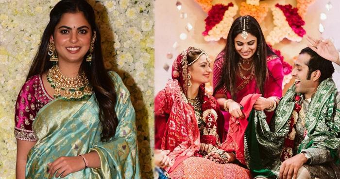 Photo of स्कूल फ्रेंड की शादी में ईशा अंबानी ने किया गठबंधन, गुलाबी साड़ी पहन ढाया कहर, देखे Photos