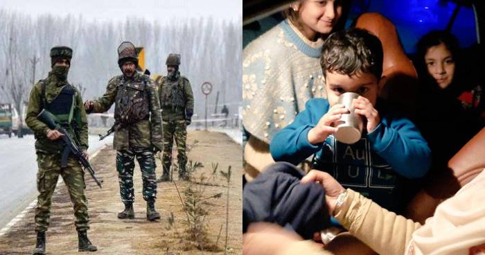 कड़कड़ाती सर्दी में 12 किलोमीटर पैदल चलकर सीआरपीएफ के जवानो ने भूखे बच्चों के लिए पहुंचाया खाना