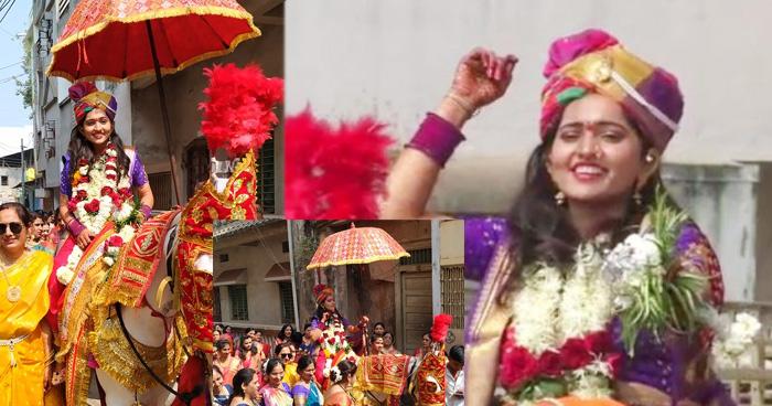 Photo of सिर पर साफा बाँध घोड़ी चढ़ी दुल्हन, बैंड बाजे से नाचते गाते पहुंची दूल्हें के घर