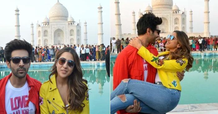 कार्तिक आर्यन और सारा अली खान ने किया ताजमहल का दीदार, खूब कीं एक-दूसरे से नजरें चार