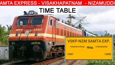 Photo of SAMTA EXPRESS – VISAKHAPATNAM  – NIZAMUDDIN Time Table