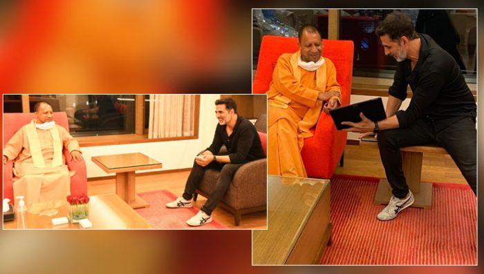 cm yogi adityanath with akshay