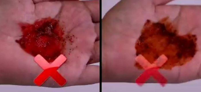 red chilli powder test